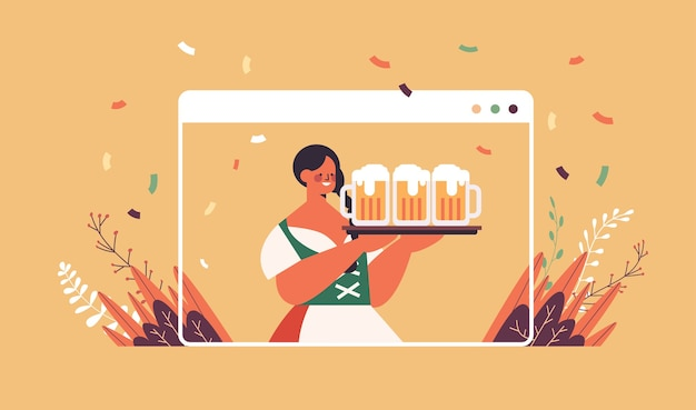 Girl waitress holding beer mugs oktoberfest party celebration concept woman in german traditional clothes having fun web browser window