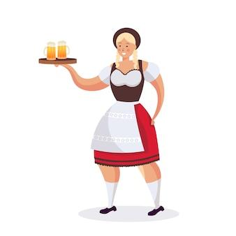 Girl waitress holding beer mugs oktoberfest party