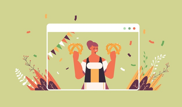 Girl waitress holding salty pretzel oktoberfest party celebration concept woman in german traditional clothes having fun web browser window