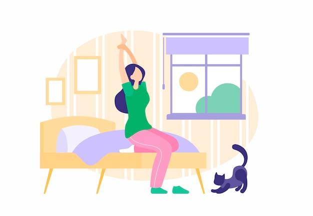 소녀는 아침에 일어납니다. 잠옷에 침대에 앉아있는 동안 스트레칭 졸린 젊은 여자. 아침 햇살은 즐거운 고양이 옆에 있는 창을 통해 빛난다. 일상의 시작. 벡터 평면 그림