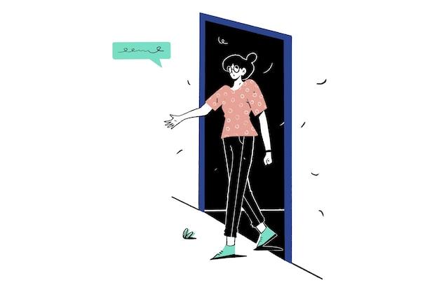 소녀는 출구 문에서 로그아웃 걸어갔다