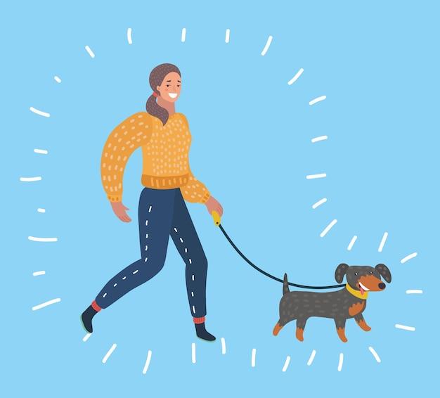 개를 산책하는 소녀.