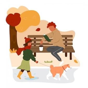 Girl walking dog against the man sitting on bench