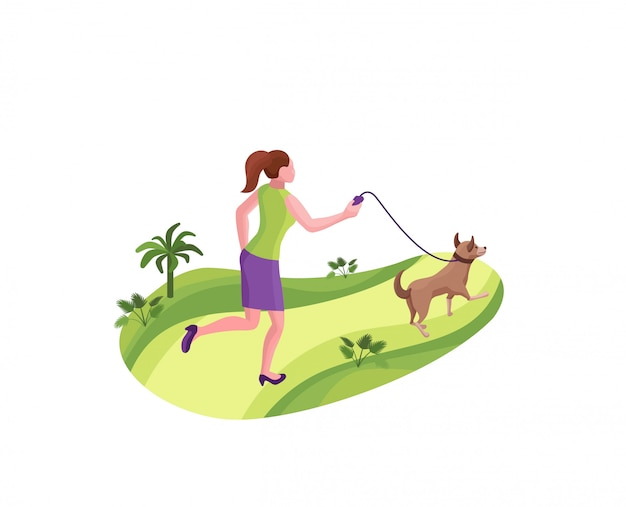 Girl walking the dog at the park