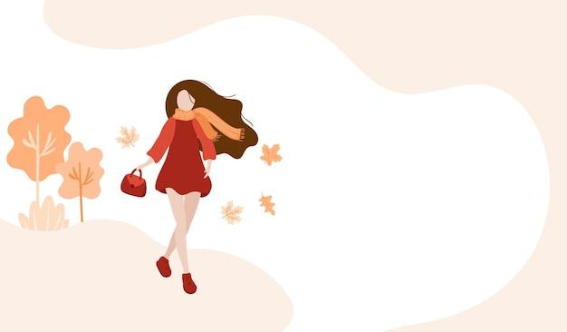 가 공원 배너에서 걷는 소녀. 스카프와 따뜻한 옷을 입은 추상적인 여자. 공원에서 걷는 개념