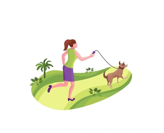 공원에서 개를 산책하는 소녀
