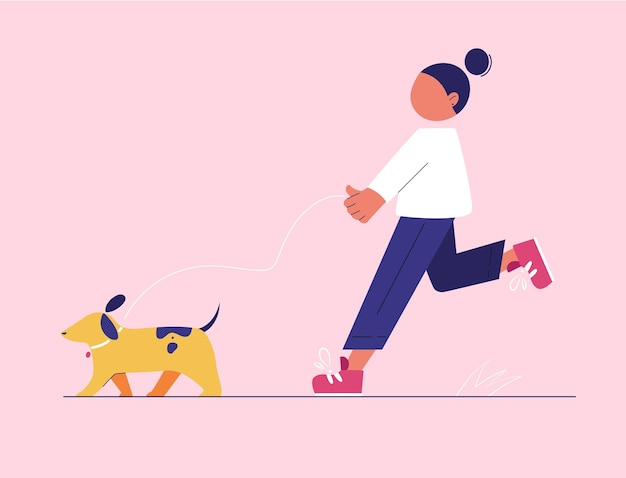 Девушка гуляет с собакой на поводке. простая плоская иллюстрация с геометрическими элементами.