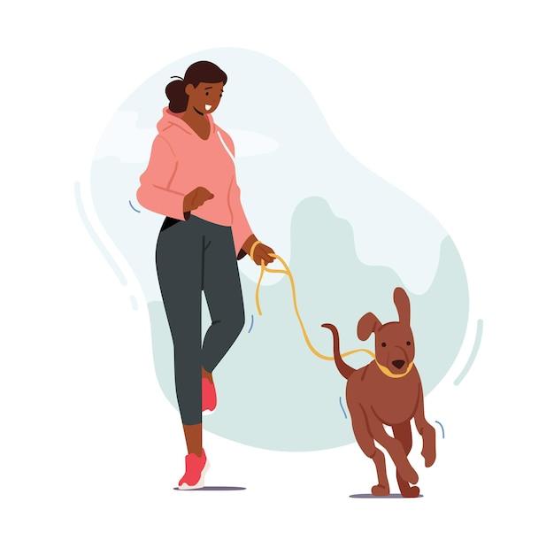 Девушка гуляет с собакой на открытом воздухе, женский персонаж бежит с забавным питомцем Premium векторы