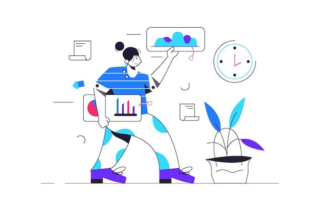 女の子は歩いてグラフ付きの仮想ディスプレイで作業します、女の子は手に仮想ディスプレイを保持し、白い背景、平らなイラスト