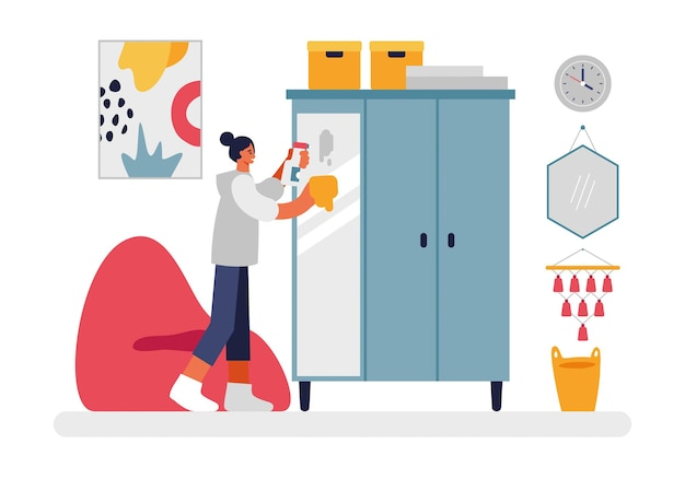 Girl washes mirror on wardrobe illustration. female character with spray bottle and rag thoroughly wipes glass surface from dust. nearby is cozy red armchair and an abstract picture flat vector.
