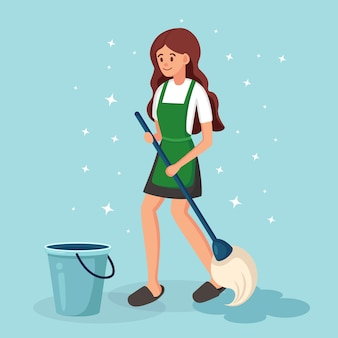女の子はモップと水のバスケットで床を洗います。家の掃除、ハウスキーピングのコンセプト。日常生活、人々の活動。