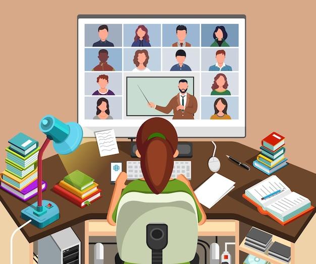 온라인 수업을 시청하고 집에서 그녀의 책상에 앉아 공부하는 소녀. 컴퓨터 화면을 보면서 메모를한다는 젊은 학생. 노트북에 화상 회의 통화. 원격 교육 개념