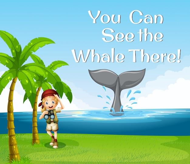 Девушка наблюдает за китами в океане