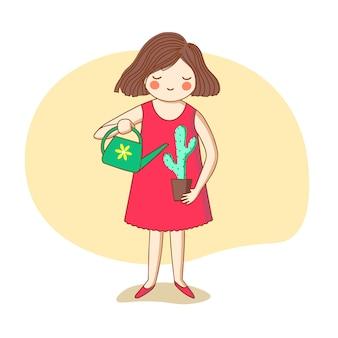 Девушка поливает кактус из лейки.