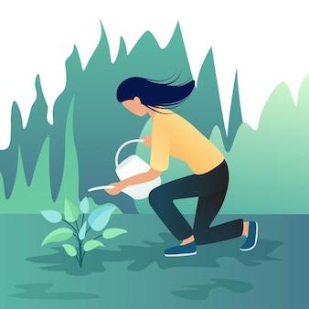 Девушка поливает растения с листьями в саду. садоводство, ботаника концепция