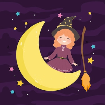 Girl wear witch costume on the moon