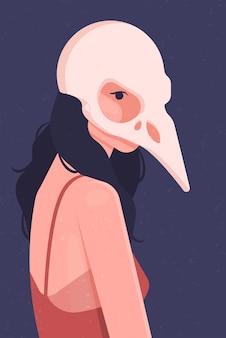 偶然のマスクを着ている少女