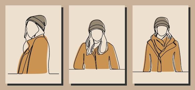 Girl wearing beanie oneline continuous line art premium vector
