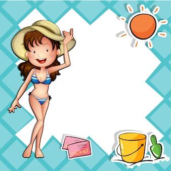 A girl wearing a bikini with a hat