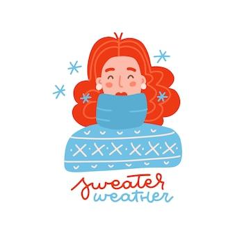 雪片のセーターの天気のレタリングの引用を持つ女性の青いニットセーターの肖像画を着ている女の子..。