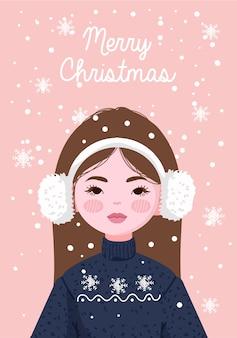 스웨터와 겨울 모자와 귀마개를 착용하는 소녀
