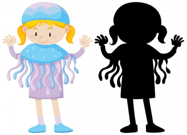 Girl wearing jellyfish costume with its silhouette