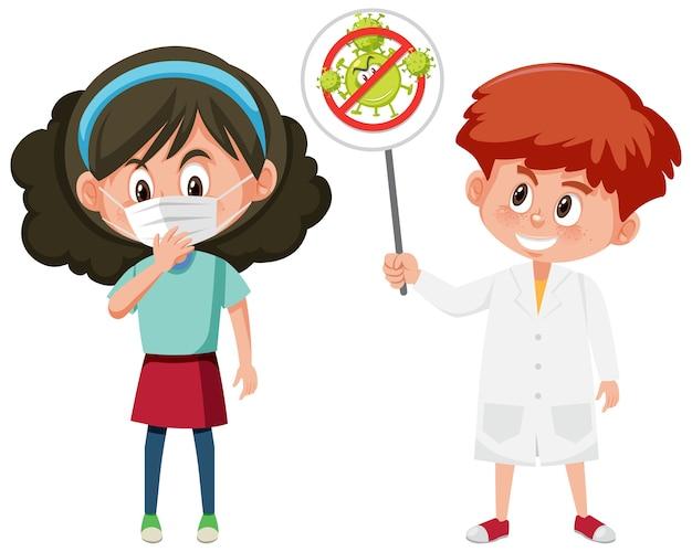 Girl wearing mask and doctor holding stop coronavirus sign