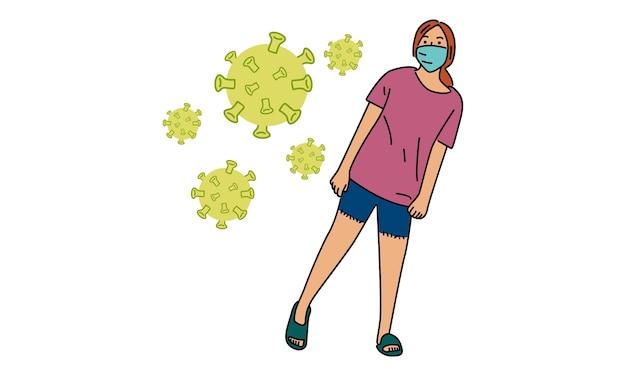 ウイルスを防ぐための医療マスクを身に着けている女の子