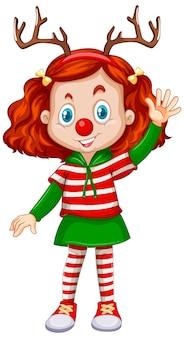 순록 머리띠와 빨간 코 크리스마스 의상을 입고 소녀