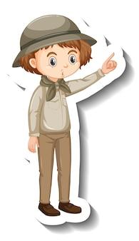사파리 옷을 입고 소녀 만화 캐릭터 스티커