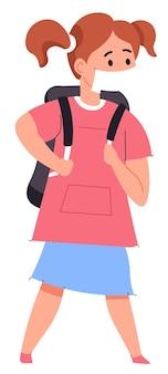 어깨에 가방을 메고 보호용 의료 마스크를 쓰고 학교에 걸어가는 소녀. 교육 시설, 전문대학 및 종합대학의 재개방. 코로나바이러스 대책. 평면 스타일의 벡터