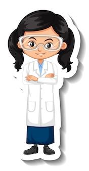 科学者の衣装の漫画のキャラクターのステッカーを身に着けている女の子