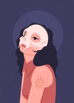 Girl wearing a skull masquerade mask