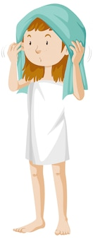Girl wearing towel after shower cartoon isolated