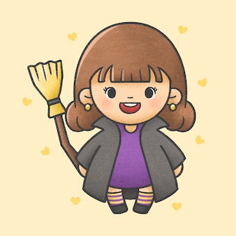 Girl wearing witch dress holding magic broom halloween costume cartoon hand drawn style