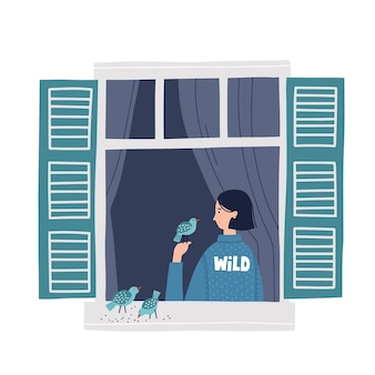 Girl in a window feeding birds. hand drawn vector illustration. saty home concept. self isolation during quarantine.