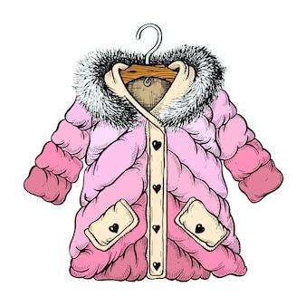 Girl winter jacket illustration