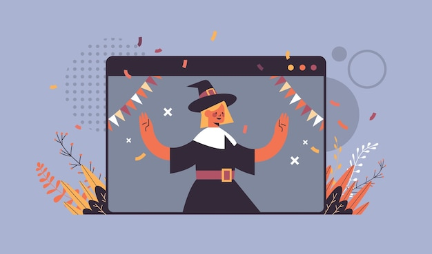Girl in witch costume celebrating happy halloween holiday self isolation online communication concept web browser window portrait horizontal vector illustration