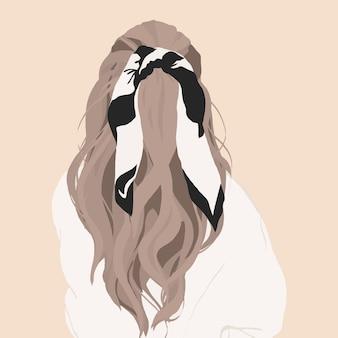 彼女の髪に弓を持つ少女。ベクトルファッションイラスト