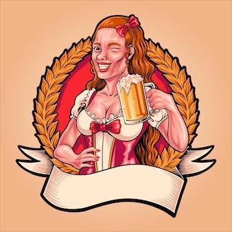 ビールオクトーバーフェストのグラスを持つ少女