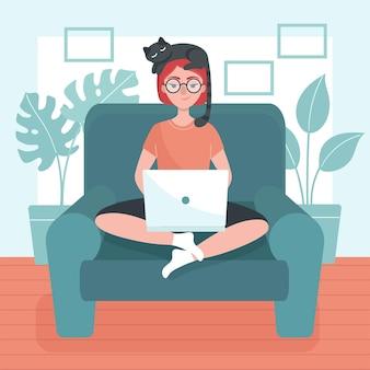 노트북 소녀는 안락의 자에 앉아있다. 프리랜서, 집에서 직장의 개념. 집에있어. 프리미엄 벡터