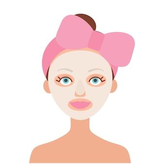 彼女の頭にピンクの弓を持つ少女。彼女は白い布製マスクを着ています。韓国の化粧品。白い背景の上のフラットな画像