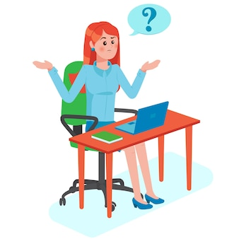思考バブルに疑問符の付いた女の子がテーブルに座っている問題を抱えた若い女性