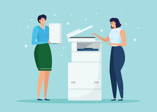 紙の束を持った少女がプリンターの前に立っています。女性は多機能デバイスでドキュメントを印刷します