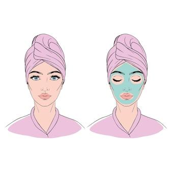 그녀의 머리에 수건과 그녀의 얼굴에 화장품 마스크 소녀.