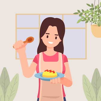 Girl with apron is cooking, holding plate with omelet topped ketchup in the kitchen, ingredients chef cooking, homemade food, dinner, illustration in flat style