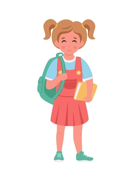 Girl with backpack and books going to the school