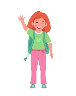 Girl with backpack going to the school girl smiling and waving hand