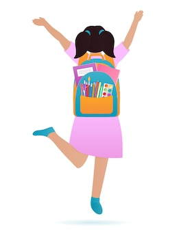A girl with a backpack on her back is jumping. back to school concept.