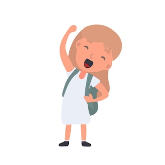 A girl with a backpack waves. satisfied schoolboy girl. suitable for design at school or on vacation. isolated. vector.